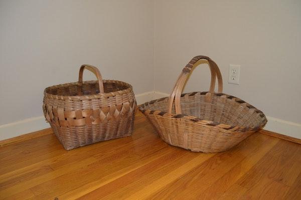 Old Handmade Baskets : Two vintage handmade baskets ebth