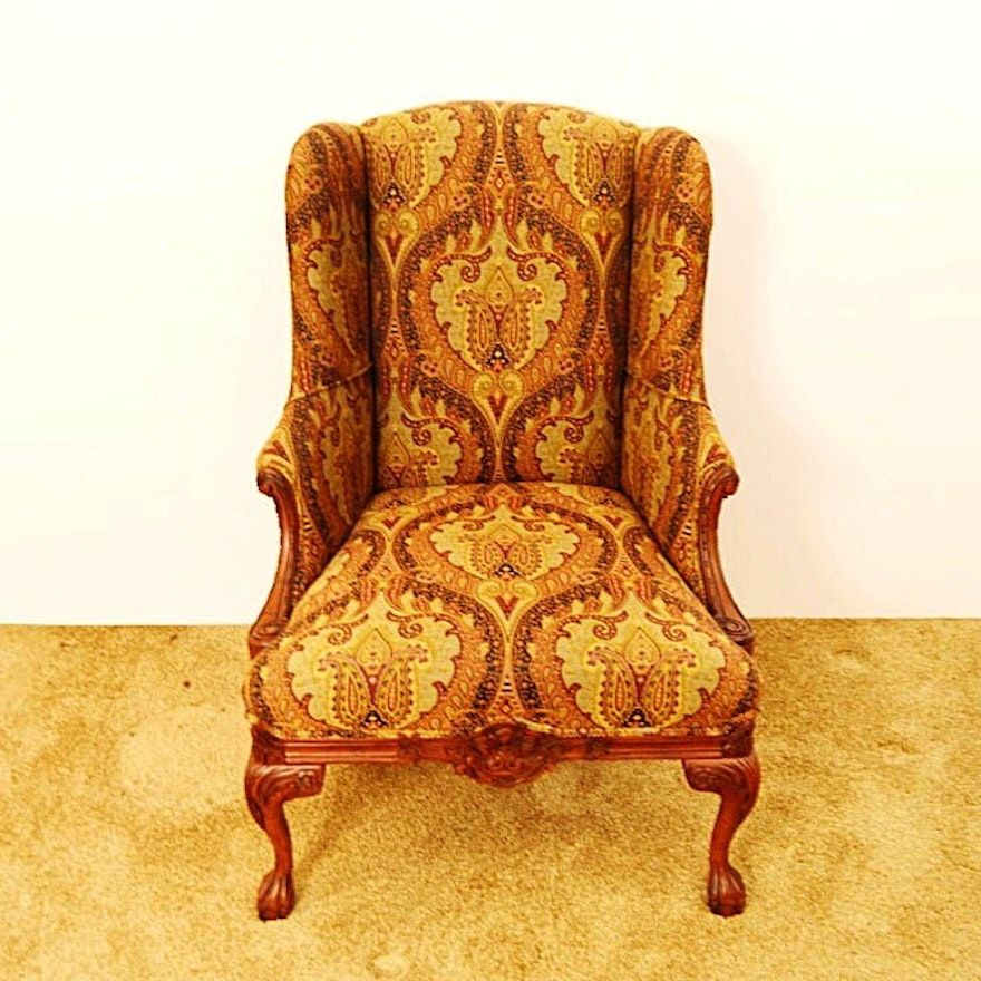 Drexel Heritage Walter Wingback Chair In Paisley Tapestry