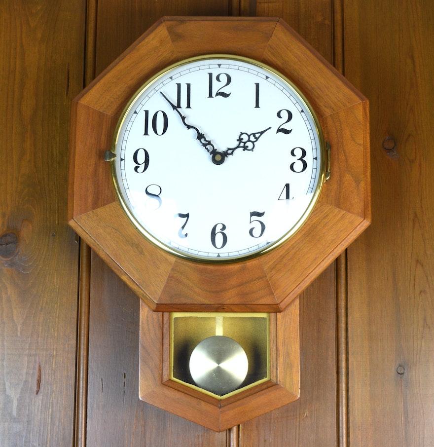 Wooden Pendulum Wall Clock Ebth