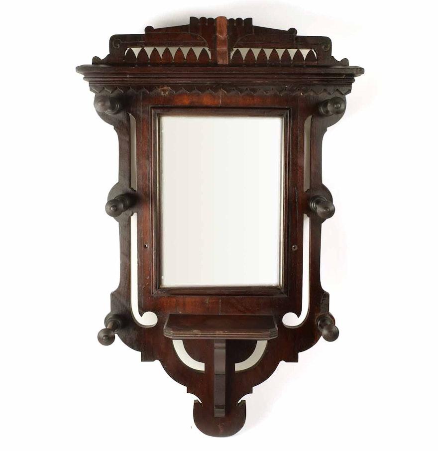 Victorian Wall Mount Mirror Coat Rack With Shelf EBTH