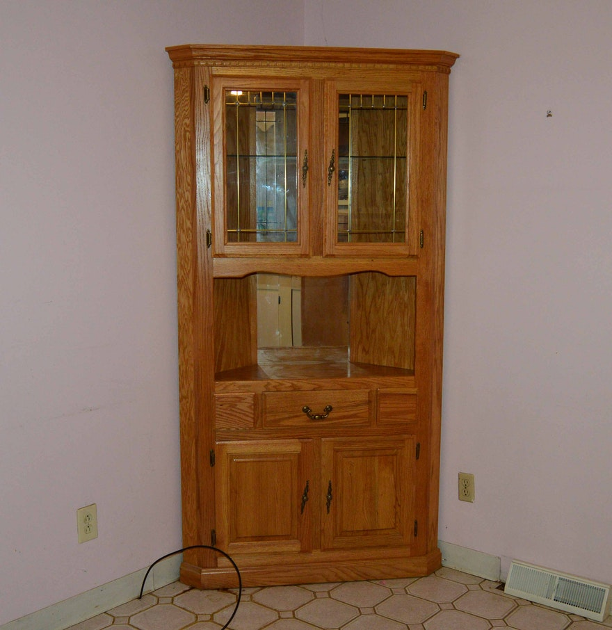 Wood Veneer For Cabinets Traditional Oak Veneer Corner Cabinet With Glass Doors Ebth