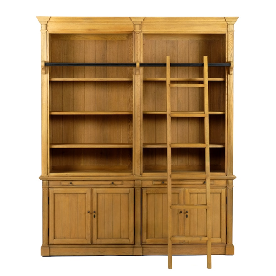 Arhaus Athens Library Bookcase with Ladder