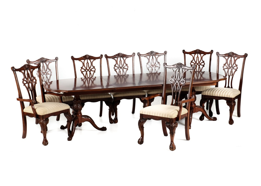 broyhill dining table and eight chippendale style chairs : ebth