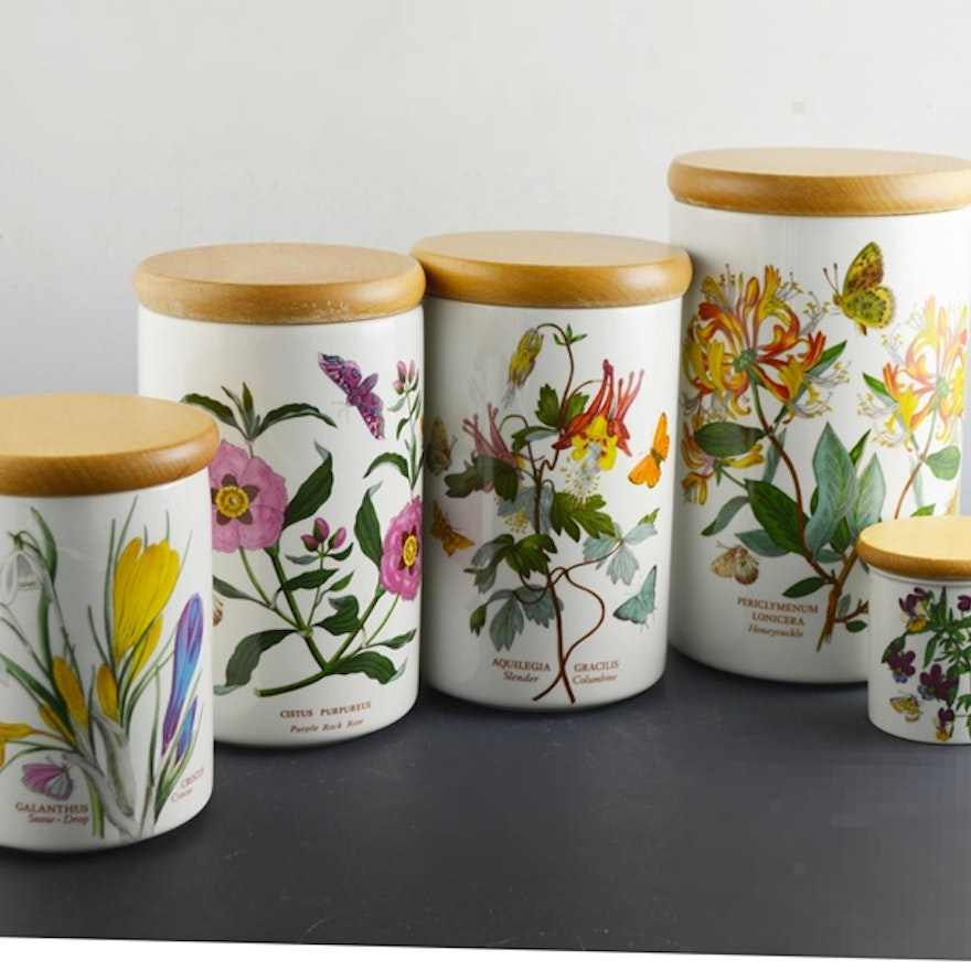 Portmeirion Botanic Garden Canisters Set Of Five Ebth