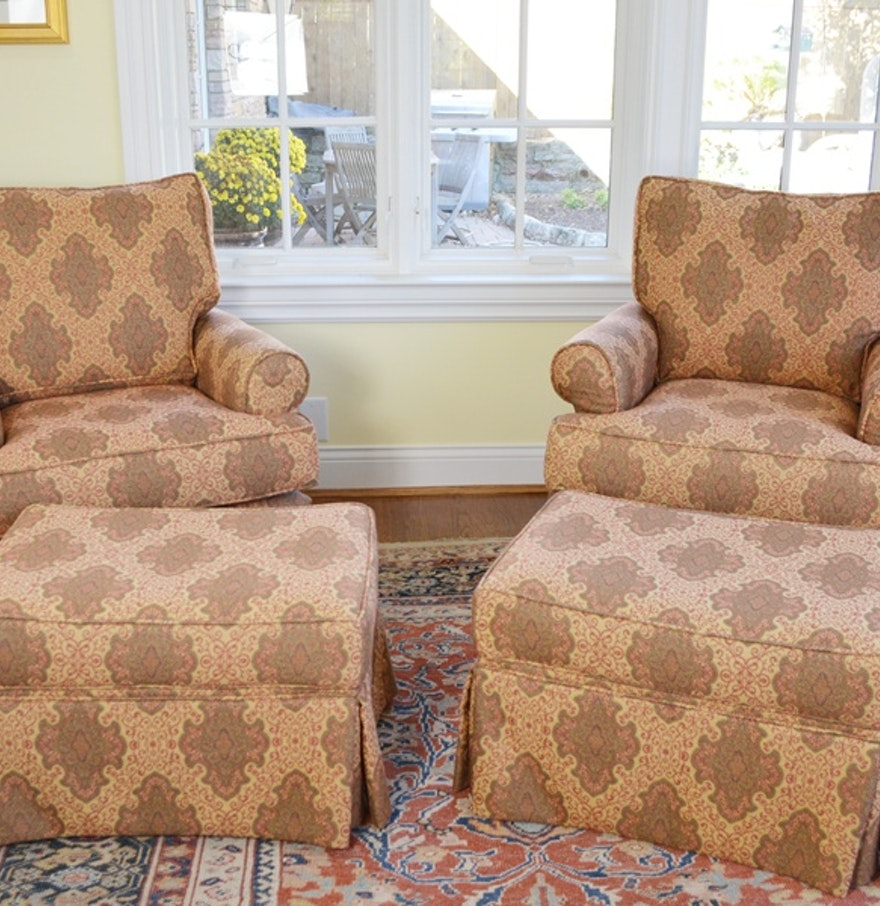Swivel Rocking Chairs For Living Room Pair Of Arhaus Upholstered Swivel Rocker Chairs Ebth