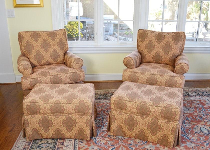 Pair Of Arhaus Upholstered Swivel/Rocker Chairs ...
