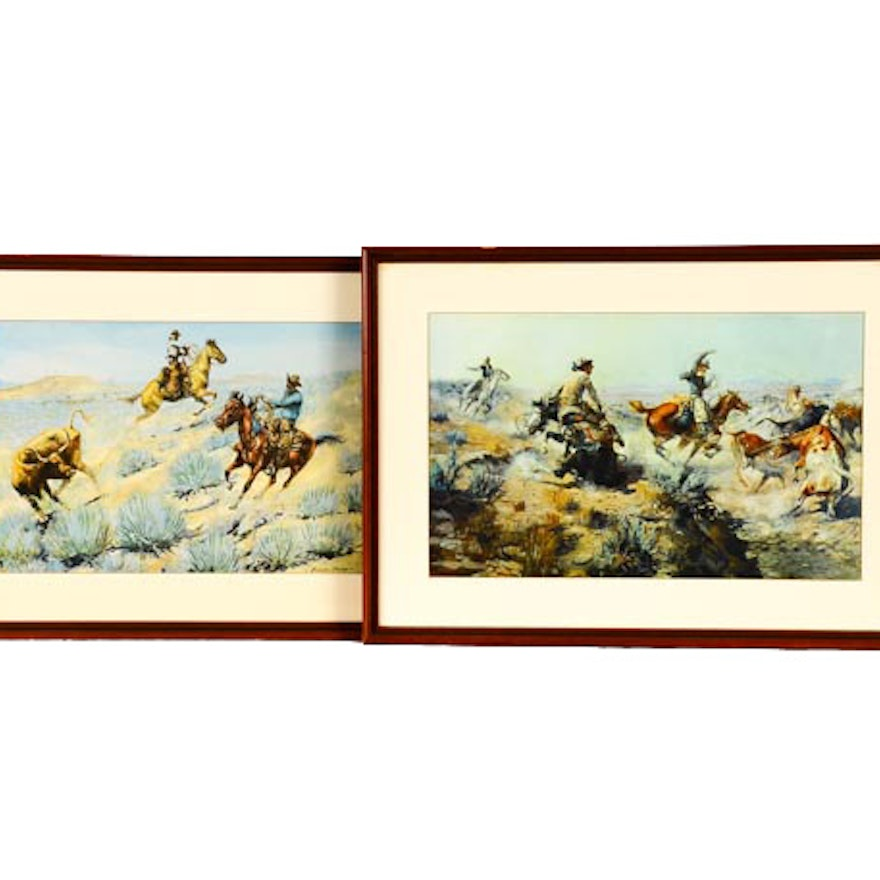 Pair of Cowboy Prints in Matching Frames