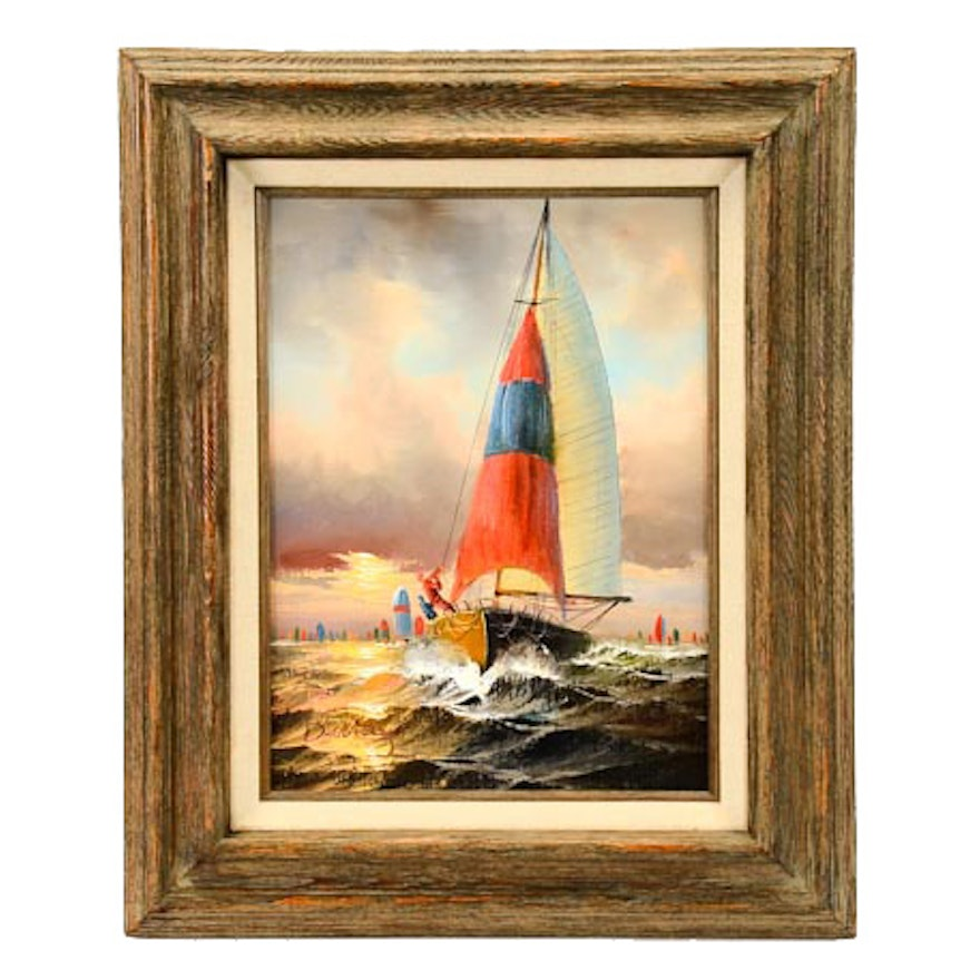 Nautical Oil Painting of Sailboats