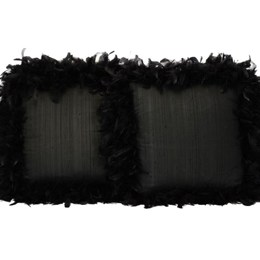 Pair of Black Silk and Feather Pillows