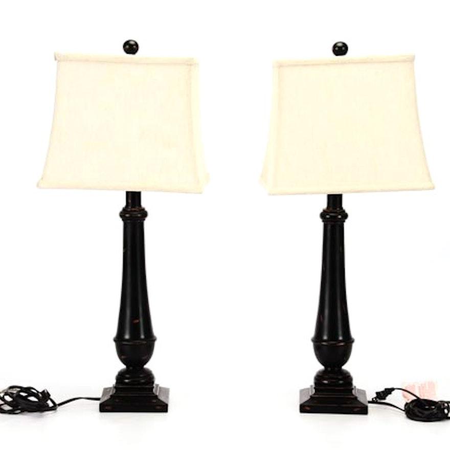 Pair of Black Wood Table Lamps