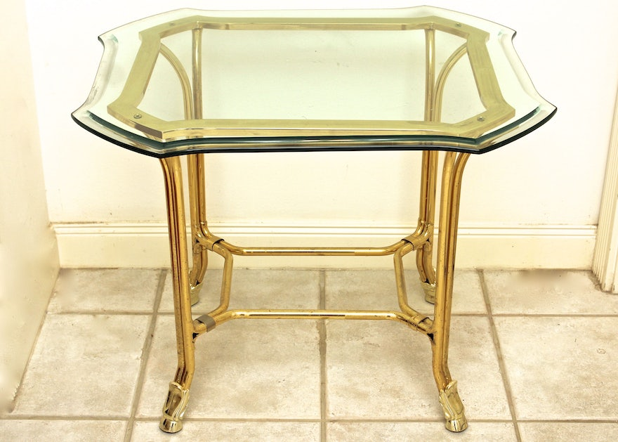 Brass Side Table With Beveled Glass Top Ebth