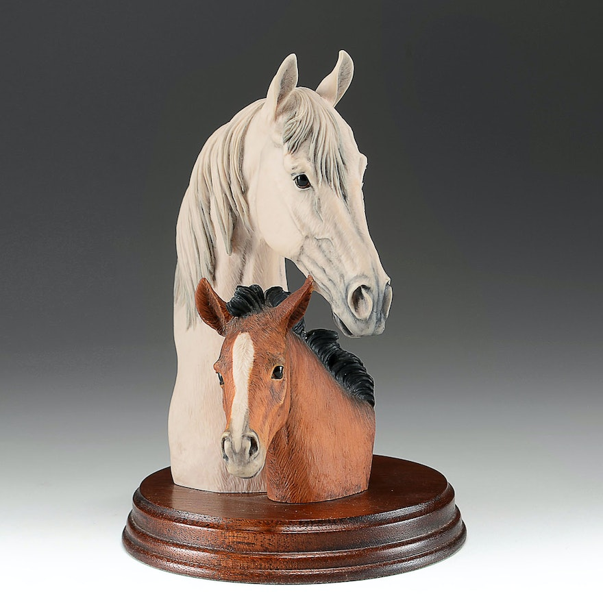 White Mare and Foal Figurine by Fred Stone