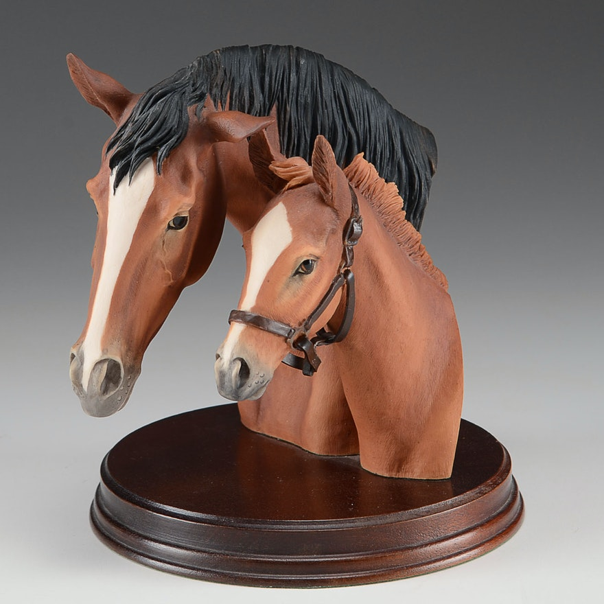 Mare and Foal Horse Head Figurine by Fred Stone