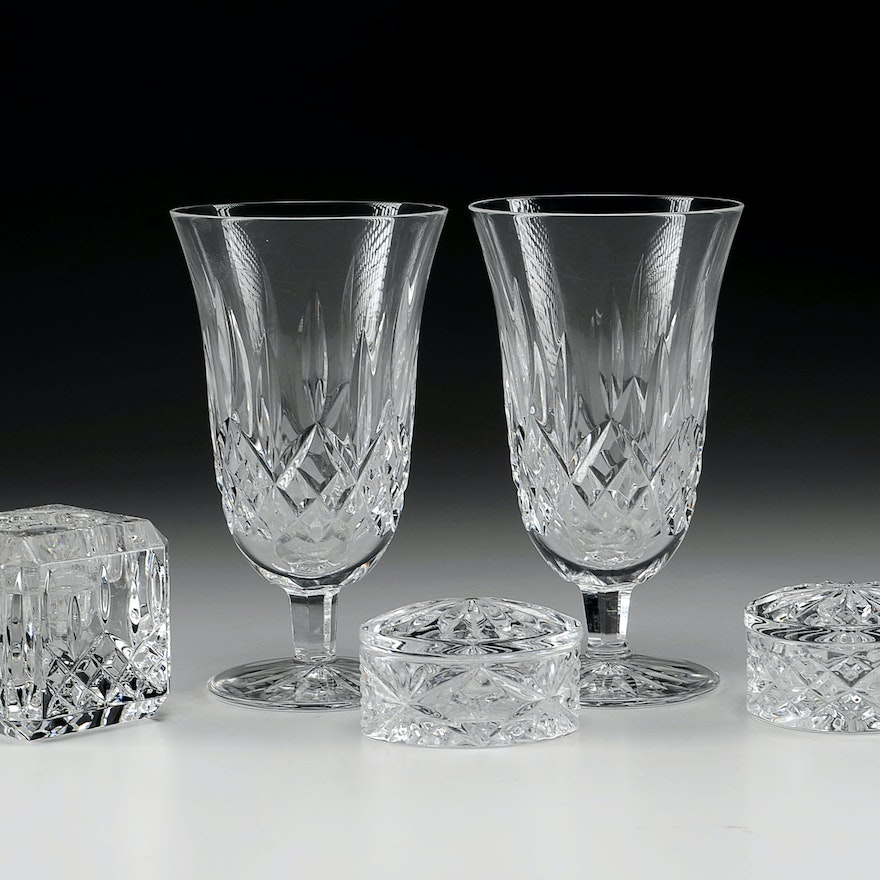 """Waterford """"Lismore"""" Round Crystal Boxes, Votive and Tea Glasses"""