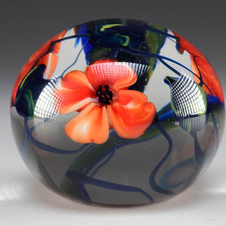 Signed Richard Olma Art Glass Floral Paperweight