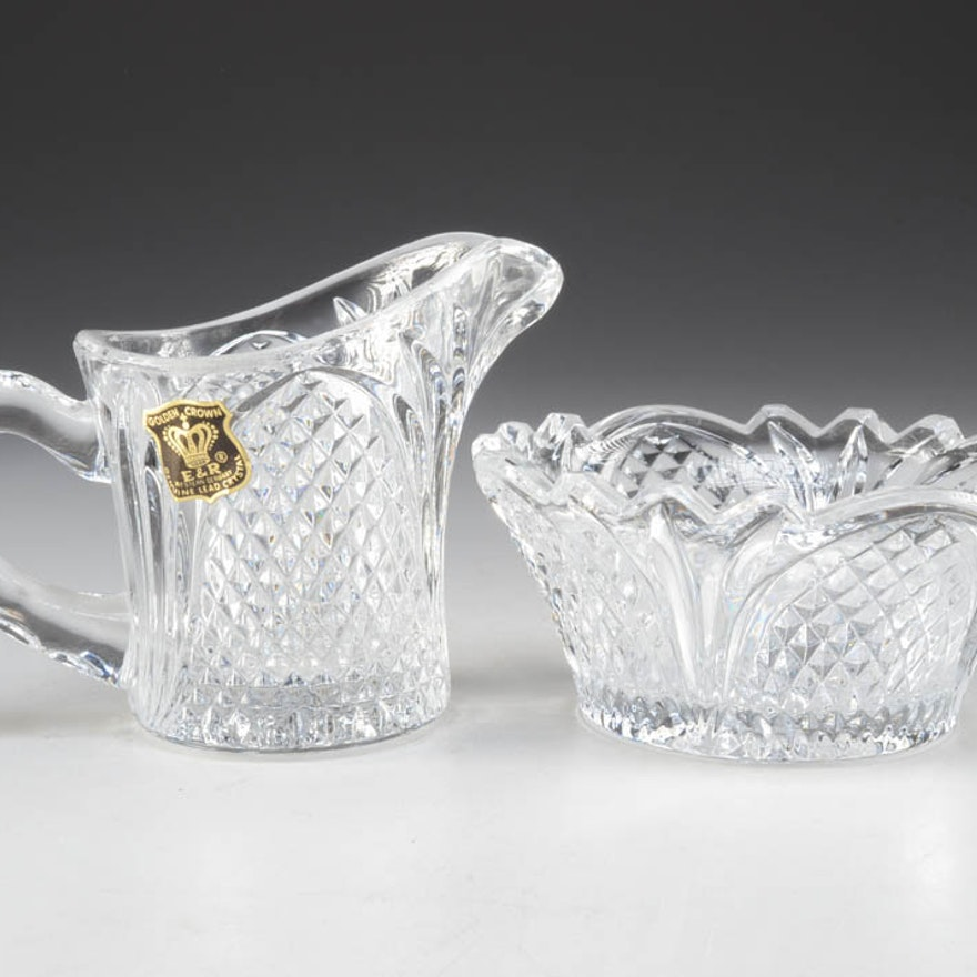 E&R Golden Crown Crystal Sugar and Creamer Set