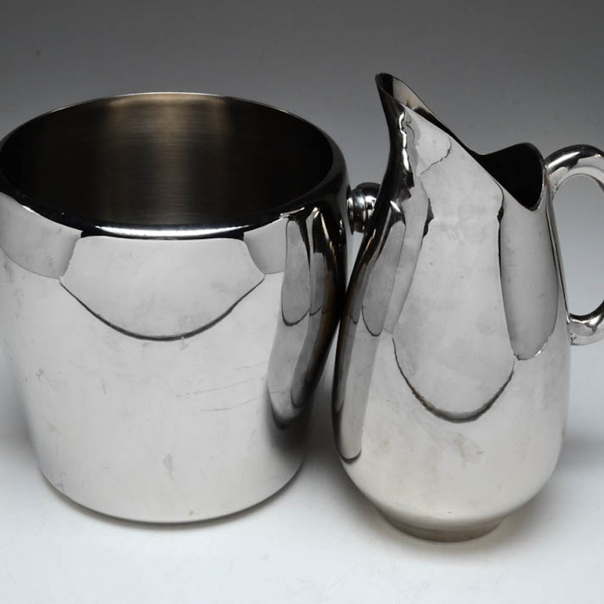Stainless Steel Ice Bucket and Metal Pitcher