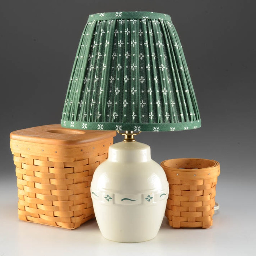 Longaberger Accent Lamp, Tissue Box Holder and Small Basket