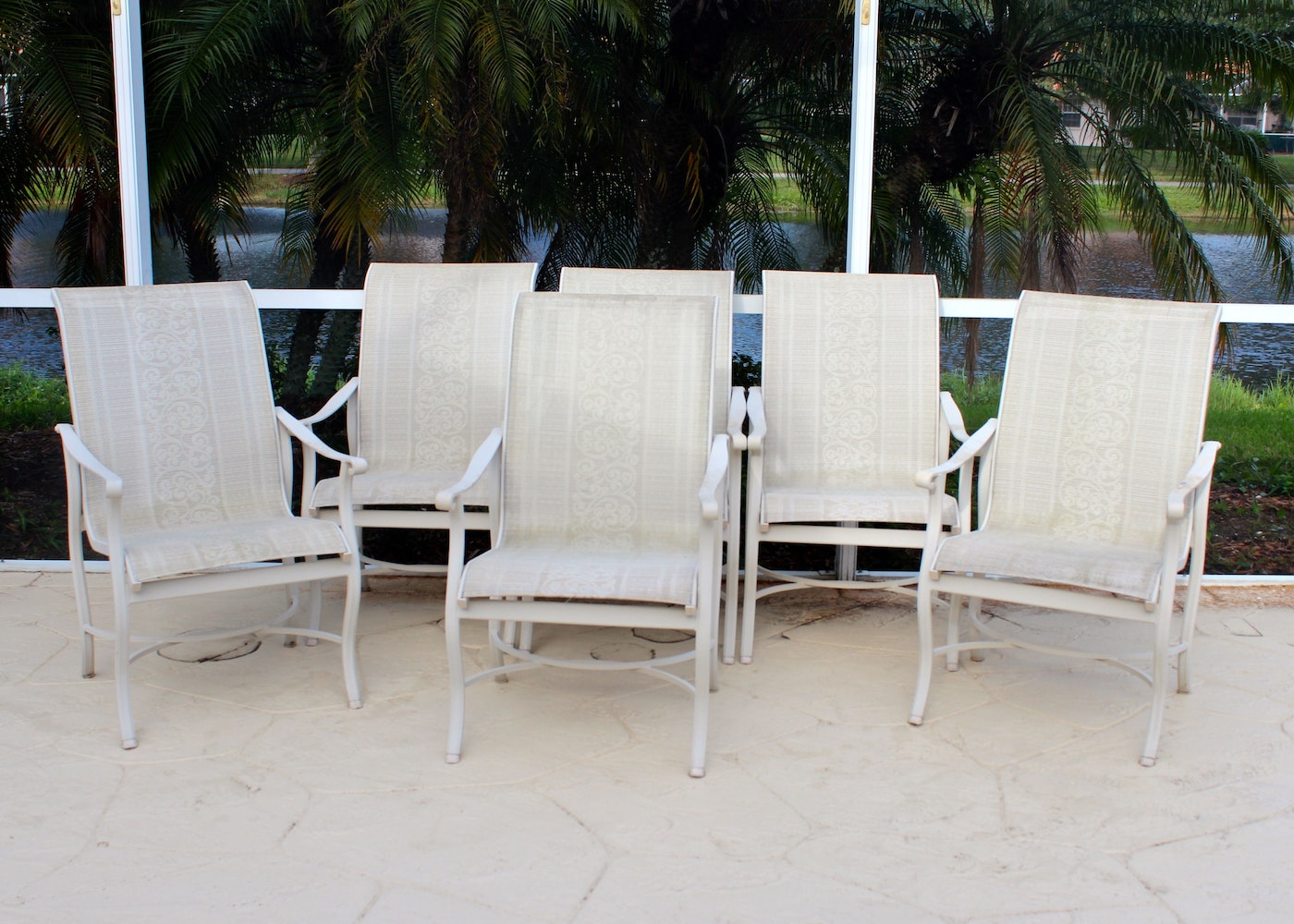 Set Of Six Carter Grandle Patio Chairs With Arms Ebth