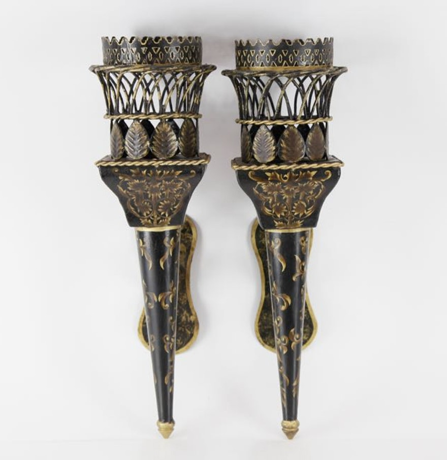 Wall Sconces That Look Like Torches : Pair of Torch Wall Sconces : EBTH