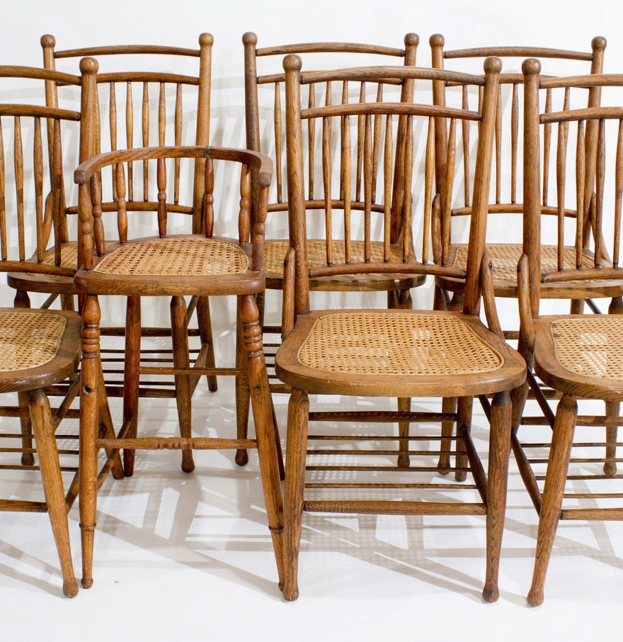 Antique Heywood Wakefield Oak Dining Chairs : EBTH