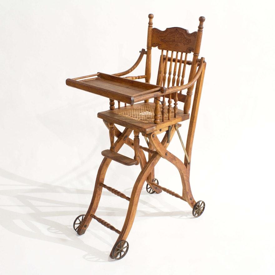 Antique Heywood Wakefield Oak Convertible Highchair ... - Antique Heywood Wakefield Oak Convertible Highchair : EBTH