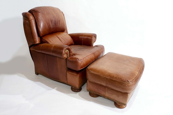 Bradington Young Leather Recliner With Ottoman Ebth