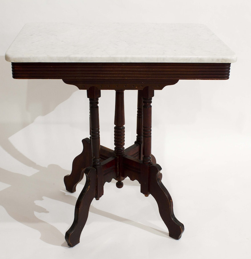 Victorian Carrera Marble Top Table Ebth