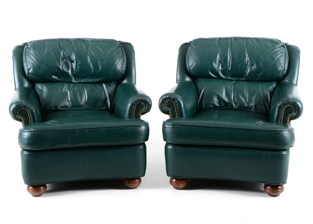Pair Distinction Leather Hunter Green Leather Club Chairs ...