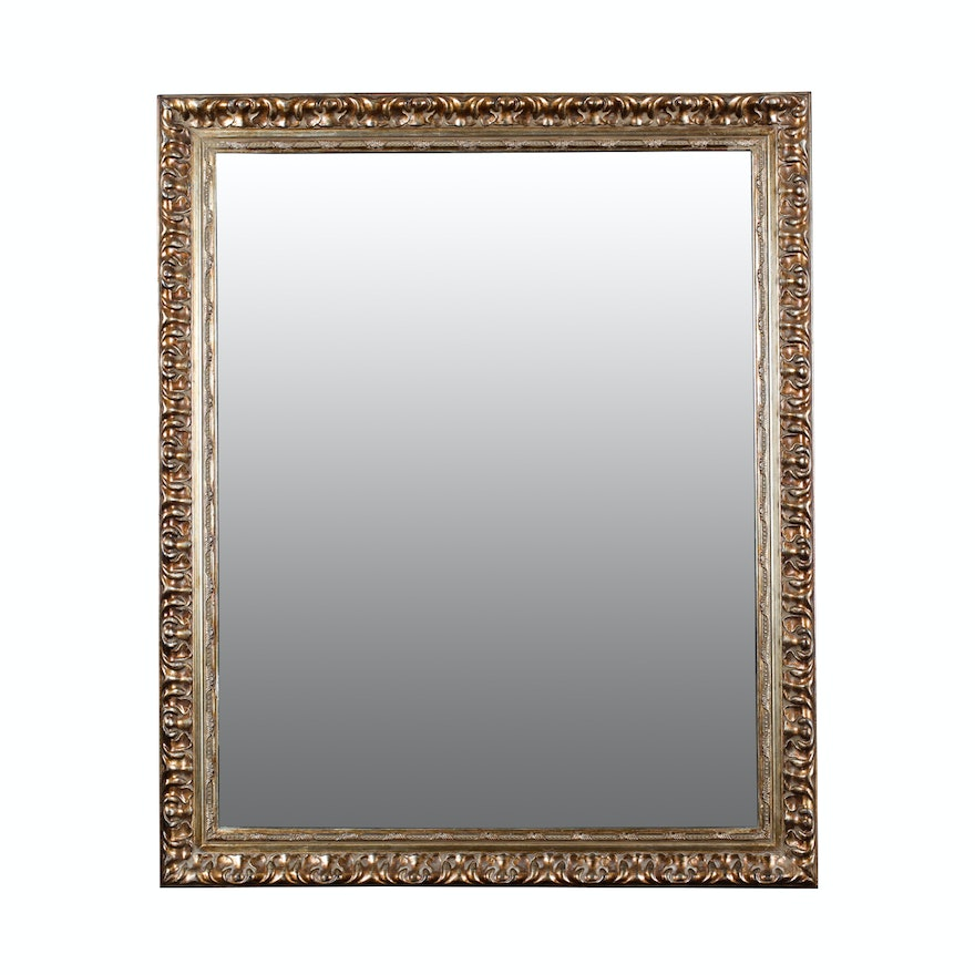 b7f5953f049 Beveled Edge Wall Mirror In Carved Wooden Frame   EBTH