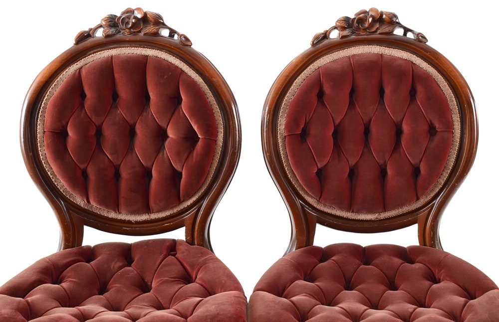 Pair Vintage Tufted Velvet Chairs Ebth