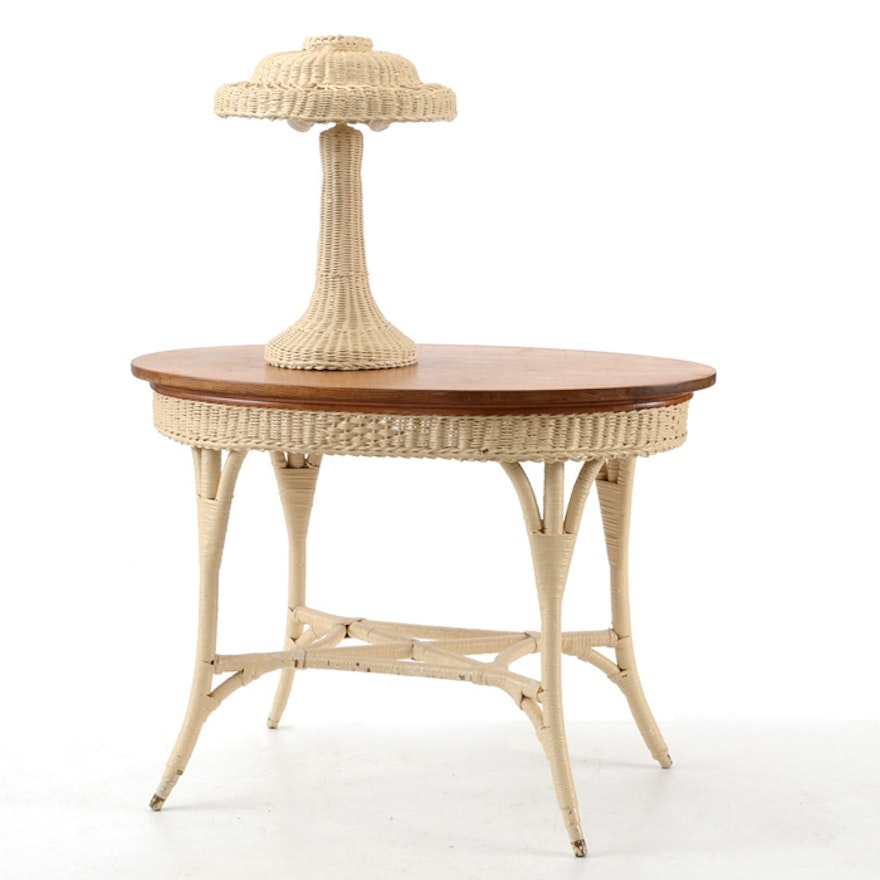 Wicker Oval Lamp Table with Lamp