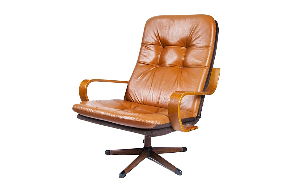 Mid Century Modern Tufted Leather Lounge Chair EBTH