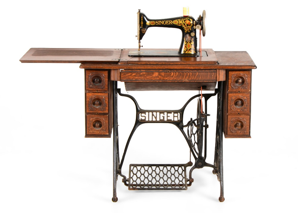 1918 Singer Treadle Sewing Machine Table ...
