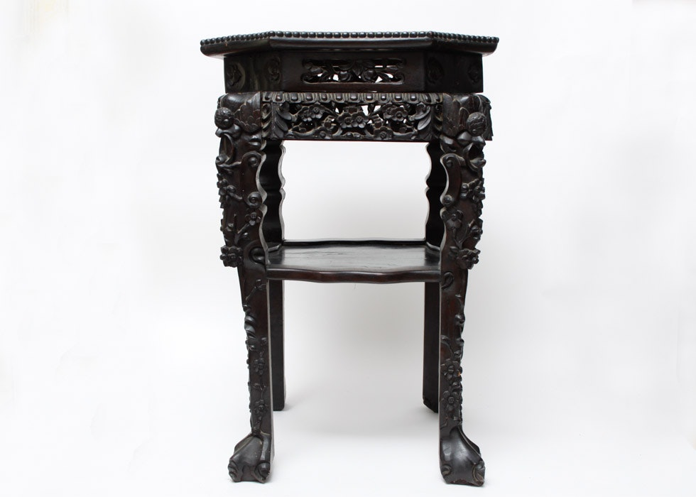 Japanese Antique Carved Side Table For Chinese Export ...