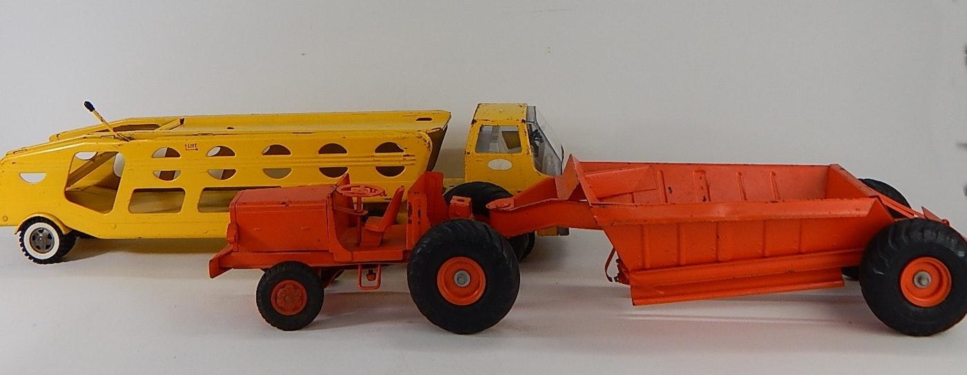 Vintage Tonka Tractors : Vintage tonka yellow truck and orange tractor ebth