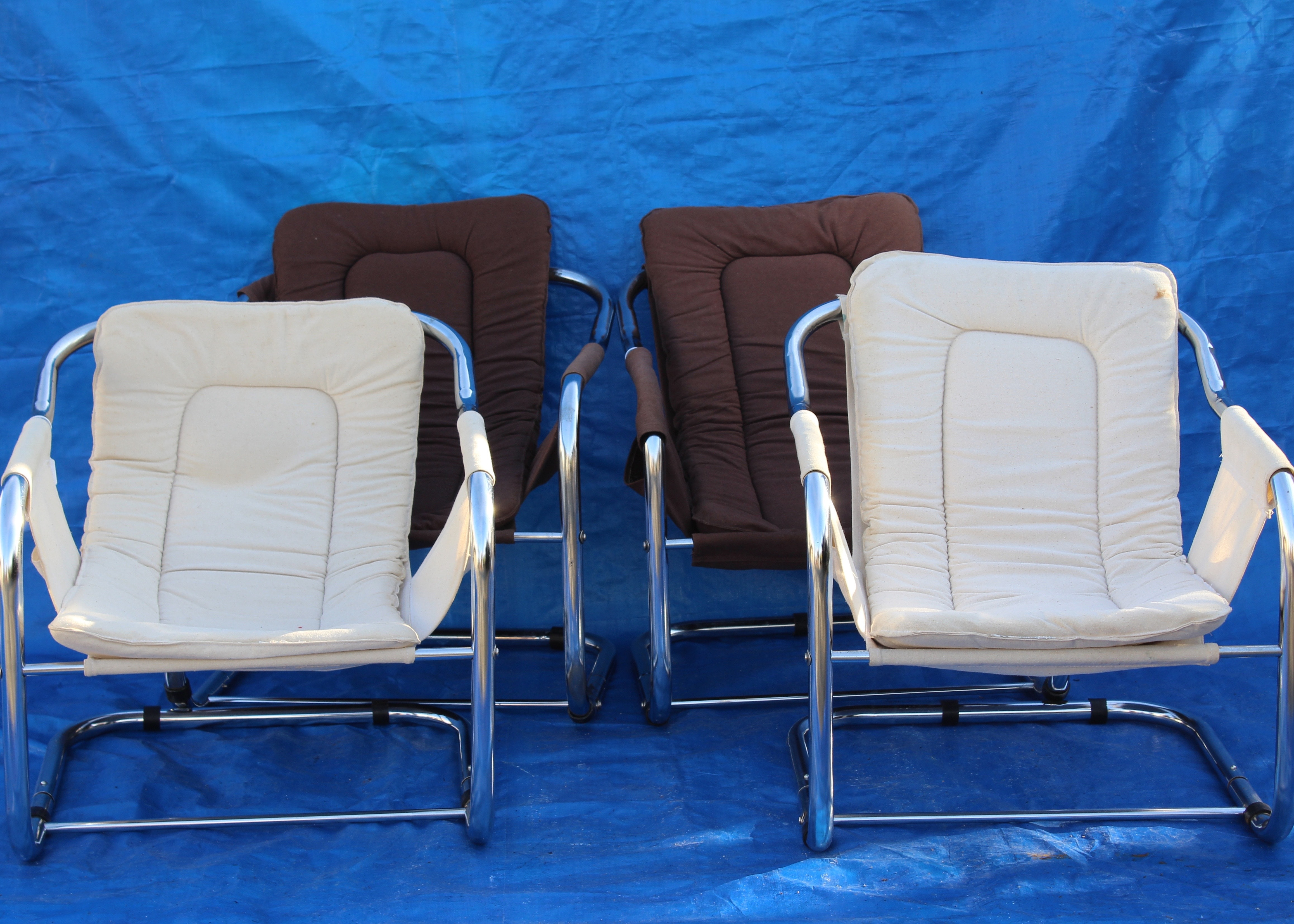 Quartet Of Mid Century Cantilever Cube Sling Chairs