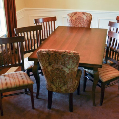 Arhaus Contemeporary Cherry Dining Table And Chairs