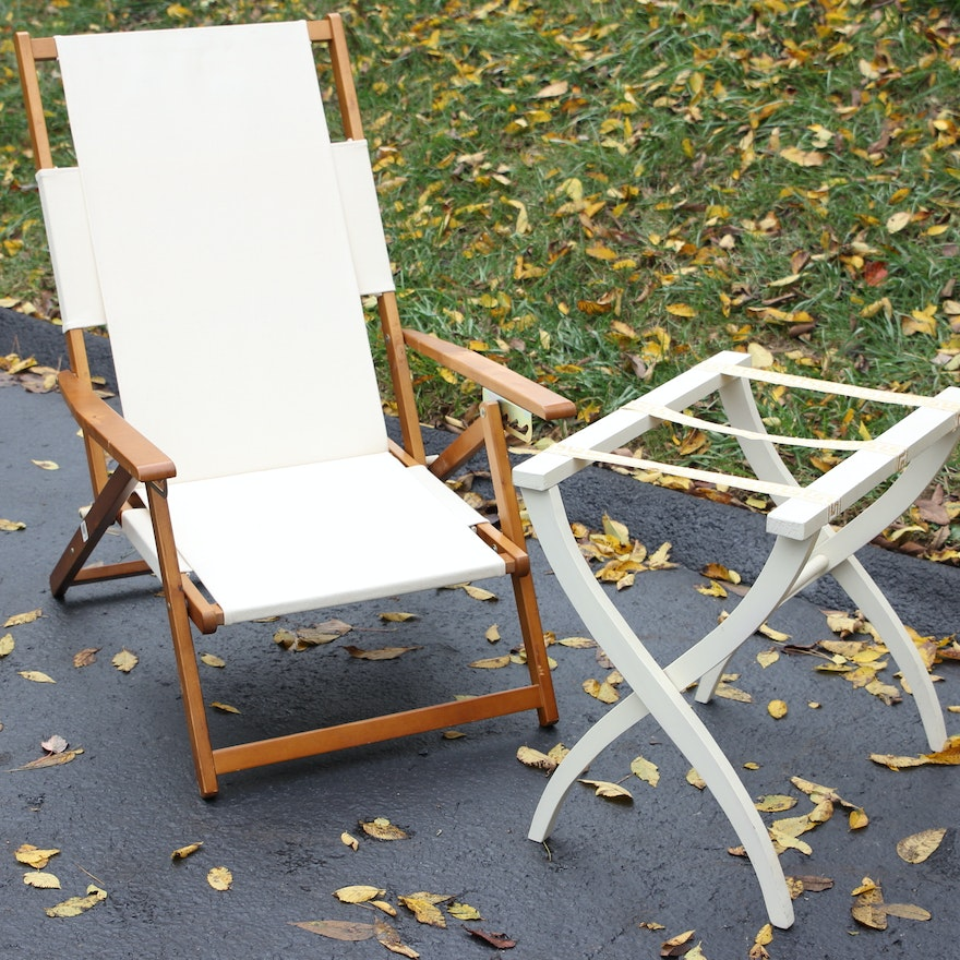 Canvas Beach Chair And Wood Luggage Caddy