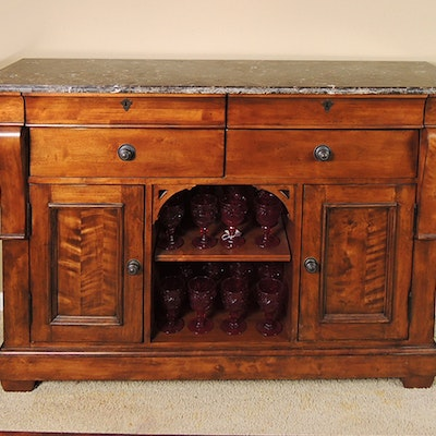 Kincaid Buffet with Marble Top. Online Furniture Auctions   Vintage Furniture Auction   Antique