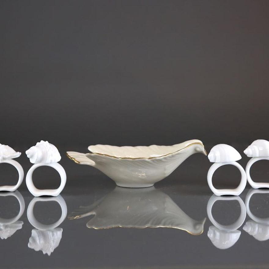 Bone China Shell Napkin Rings and Lenox China Dove Dish