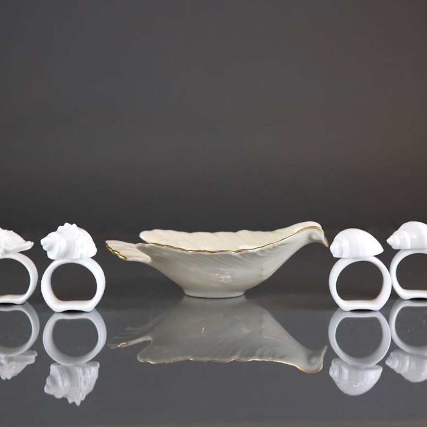 Bone China Shell Napkin Rings and Lenox China Dove Dish