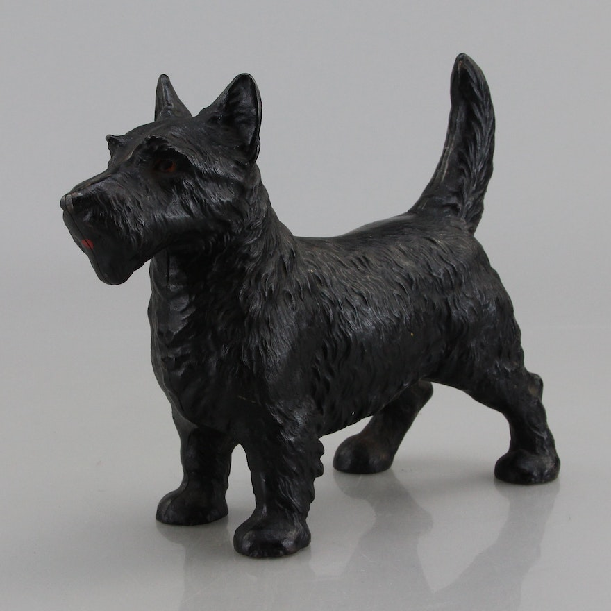 Vintage Cast Iron Scottie Dog Door Stop Ebth
