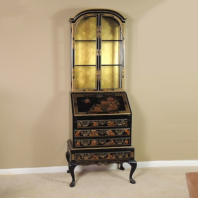 Hand Decorated Asian Style Secretary with Display Cabinet - Online Furniture Auctions Vintage Furniture Auction Antique