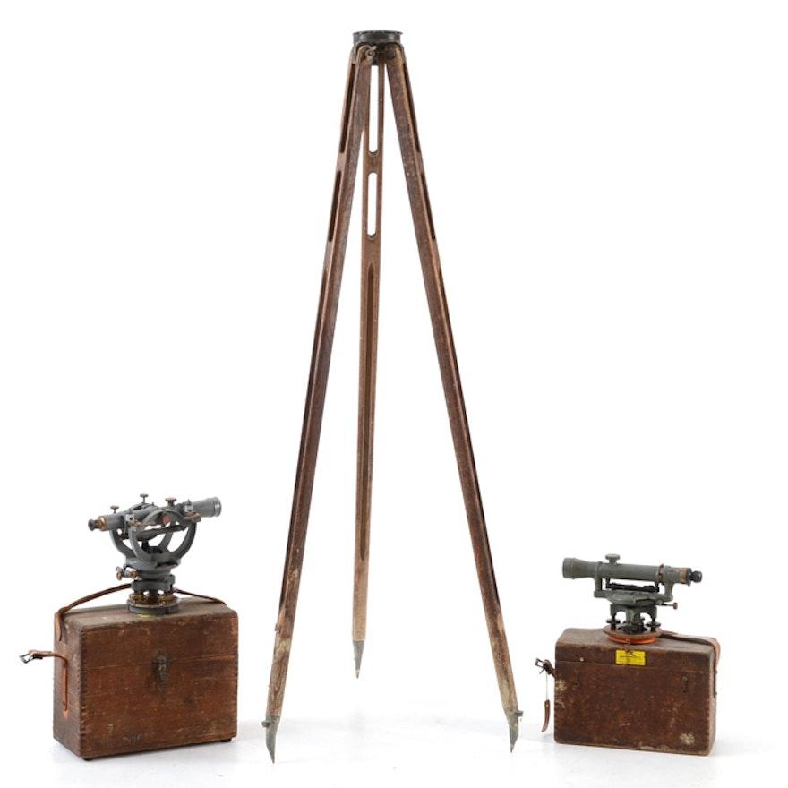 Vintage Three-Piece Surveyor Equipment