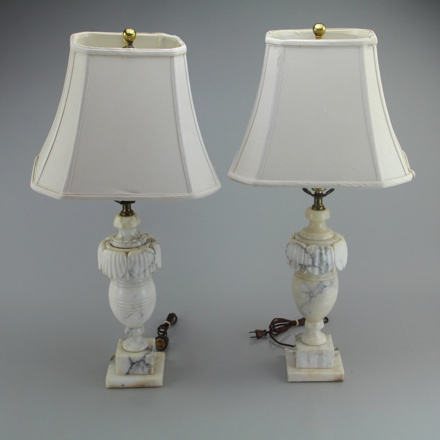 Set Of Two Vintage Marble Leviton Lamps : EBTH