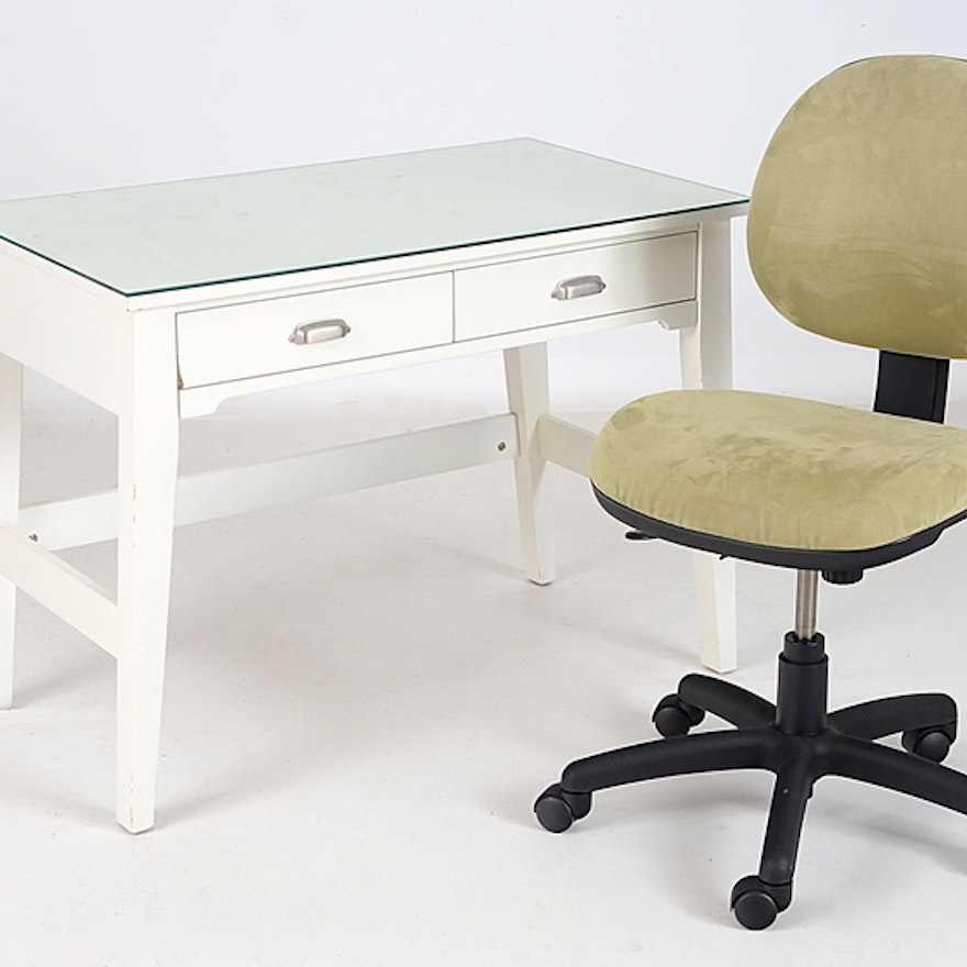 Contemporary White Desk with Chair