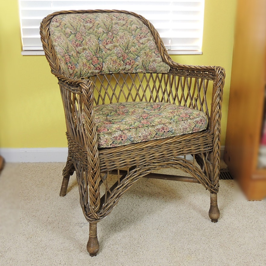 Vintage Wicker Chair with Upholstered Seat and Back ... - Vintage Wicker Chair With Upholstered Seat And Back : EBTH