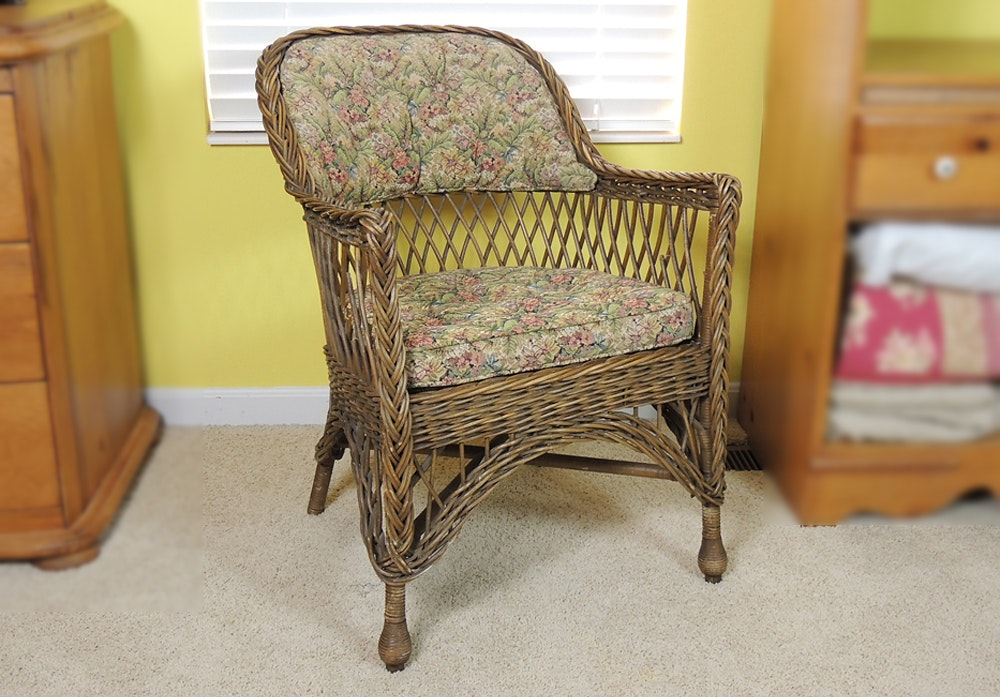 Vintage Wicker Chair With Upholstered Seat And Back ...
