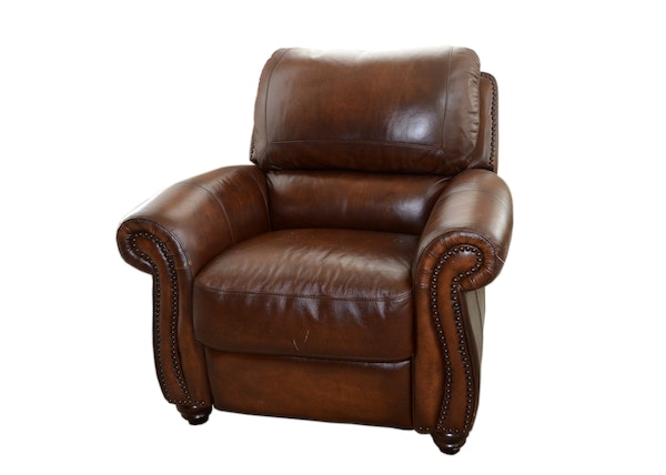 Leather Reclining Chair With Nailhead Trim EBTH